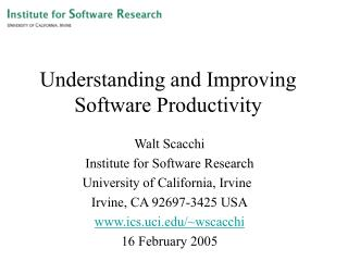 Understanding and Improving Software Productivity