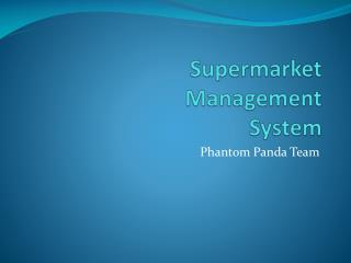 Supermarket Management System