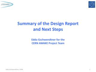 Summary of the Design Report and Next Steps Edda Gschwendtner  for the CERN AWAKE  Project Team