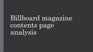 Billboard magazine contents page analysis