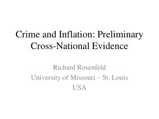 Crime and Inflation: Preliminary Cross-National Evidence