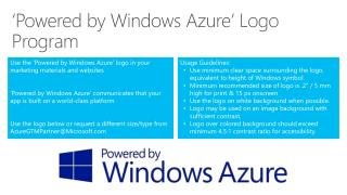 'Powered by Windows Azure' Logo Program
