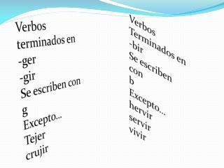 Verbos terminados en  - ger - gir Se escriben con g Excepto… Tejer  crujir