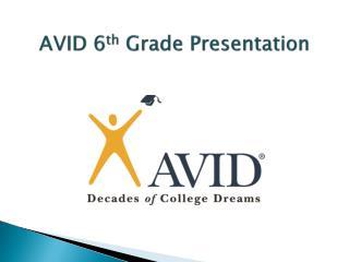 AVID 6 th  Grade Presentation