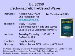 EE 30358Electromagnetic Fields and Waves II