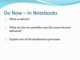 Do Now – In Notebooks