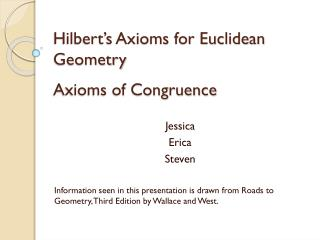 Hilbert's Axioms for Euclidean Geometry Axioms of Congruence