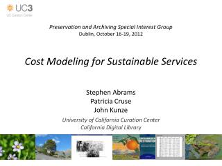 Cost Modeling for Sustainable Services