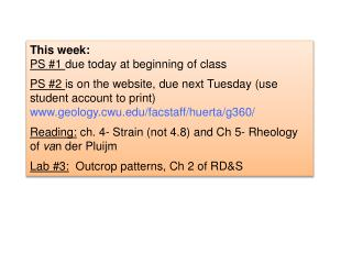 This week: PS #1  due today at beginning of  class