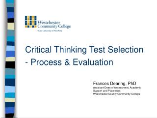 Critical Thinking Test Selection  - Process  Evaluation