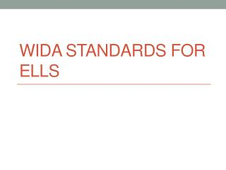 WIDA Standards for ELLs