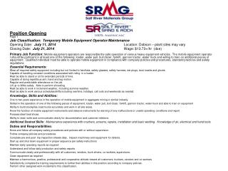 Position Opening Page 1 Job Classification:  Temporary Mobile Equipment Operator/Maintenance