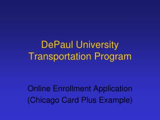 DePaul University Transportation Program
