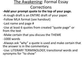The Awakening : Formal Essay Corrections