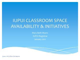 IUPUI CLASSROOM SPACE AVAILABILITY & INITIATIVES