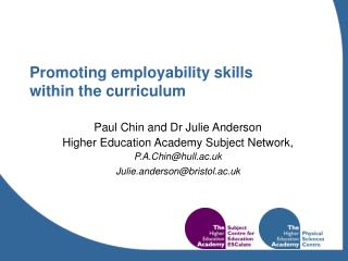 Promoting employability skills  within the curriculum