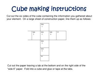 Cube making instructions
