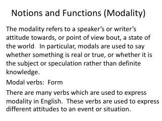 Notions and Functions (Modality)