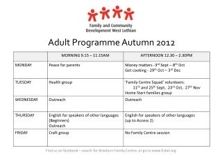 Adult Programme Autumn 2012