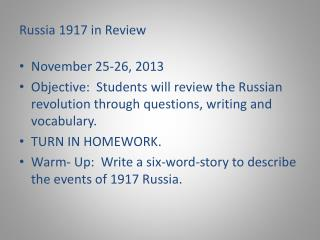 Russia 1917 in Review