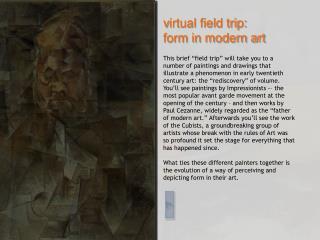 v irtual field trip:  form in modern art