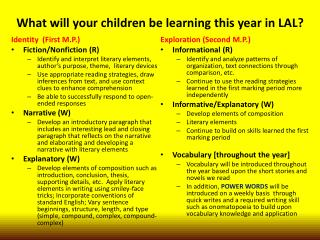 What will your children be learning this year in LAL?