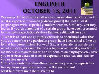 ENGLISH II OCTOBER 13,  2011