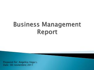 Business Management  Report