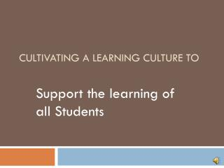 Cultivating a Learning Culture to