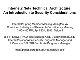 Internet2  Net+ Technical Architecture:  An Introduction to Security Considerations