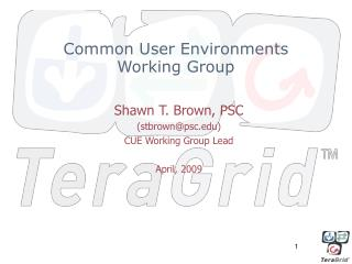Common User Environments Working Group