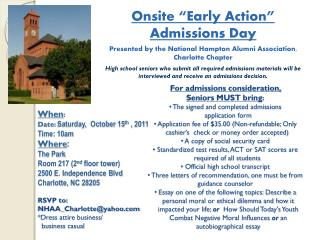 "Onsite ""Early Action"" Admissions Day"
