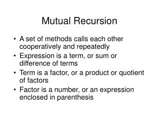 Mutual Recursion
