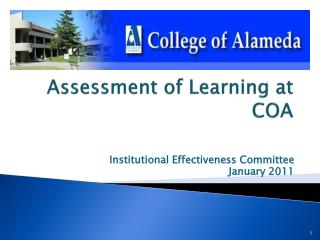 Assessment of Learning at  COA