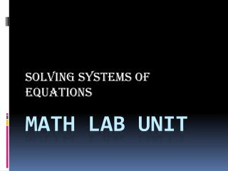 Math Lab unit