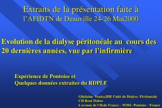 Exp rience de Pontoise et  Quelques donn es extraites du RDPLF