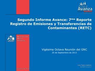 Vigésima Octava  R eunión del GNC  25 de Septiembre de 2013