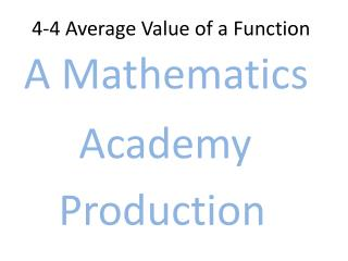 4-4 Average  Value of a Function