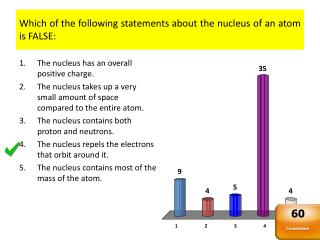 Which of the following statements about the nucleus of an atom is FALSE: