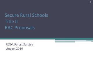 Secure Rural Schools Title II  RAC Proposals