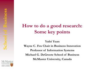 How to do a good research: Some key points
