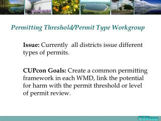 Permitting Threshold/Permit Type Workgroup