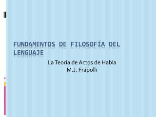 Fundamentos de Filosofía del Lenguaje