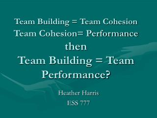 Team Building  Team Cohesion  Team Cohesion Performance then  Team Building  Team Performance