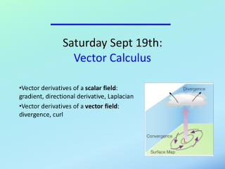 Saturday Sept 19th:  Vector Calculus