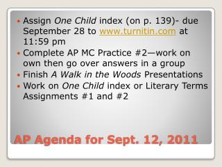 AP Agenda for Sept. 12, 2011