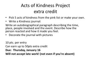 Acts of Kindness Project extra credit