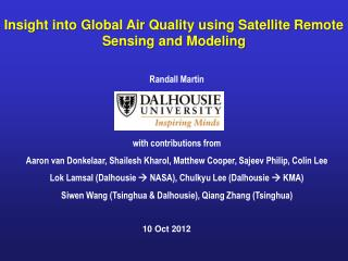 Insight into Global Air Quality using Satellite Remote Sensing and Modeling