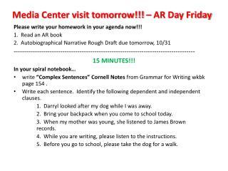 Media Center visit tomorrow !!! – AR Day Friday