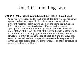 Unit 1 Culminating Task